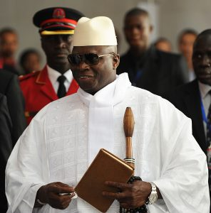 (FILES) A picture taken on July 15, 2012 shows Gambian President Yahya Jammeh arriving at the African Union summit in Addis Ababa. . Amnesty International on August 24, 2012 said that Gambia had executed nine death row prisoners, after President Yahya Jammeh vowed to carry out all death sentences by mid-September. AFP PHOTO/SIMON MAINA