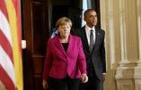U. S. President Barack Obama and German Chancellor Angela Merkel arrive to address a joint news conference in the East Room of the White House in Washington February 9, 2015. REUTERS/Gary Cameron (UNITED STATES - Tags: POLITICS CIVIL UNREST) - RTR4OW3R