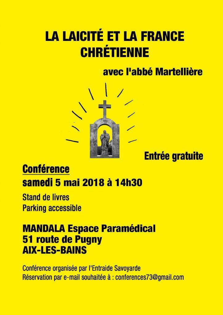 Conférence à Aix-les-Bains le samedi5 mai 2018à14h30 : «La laïcité et la France chrétienne»