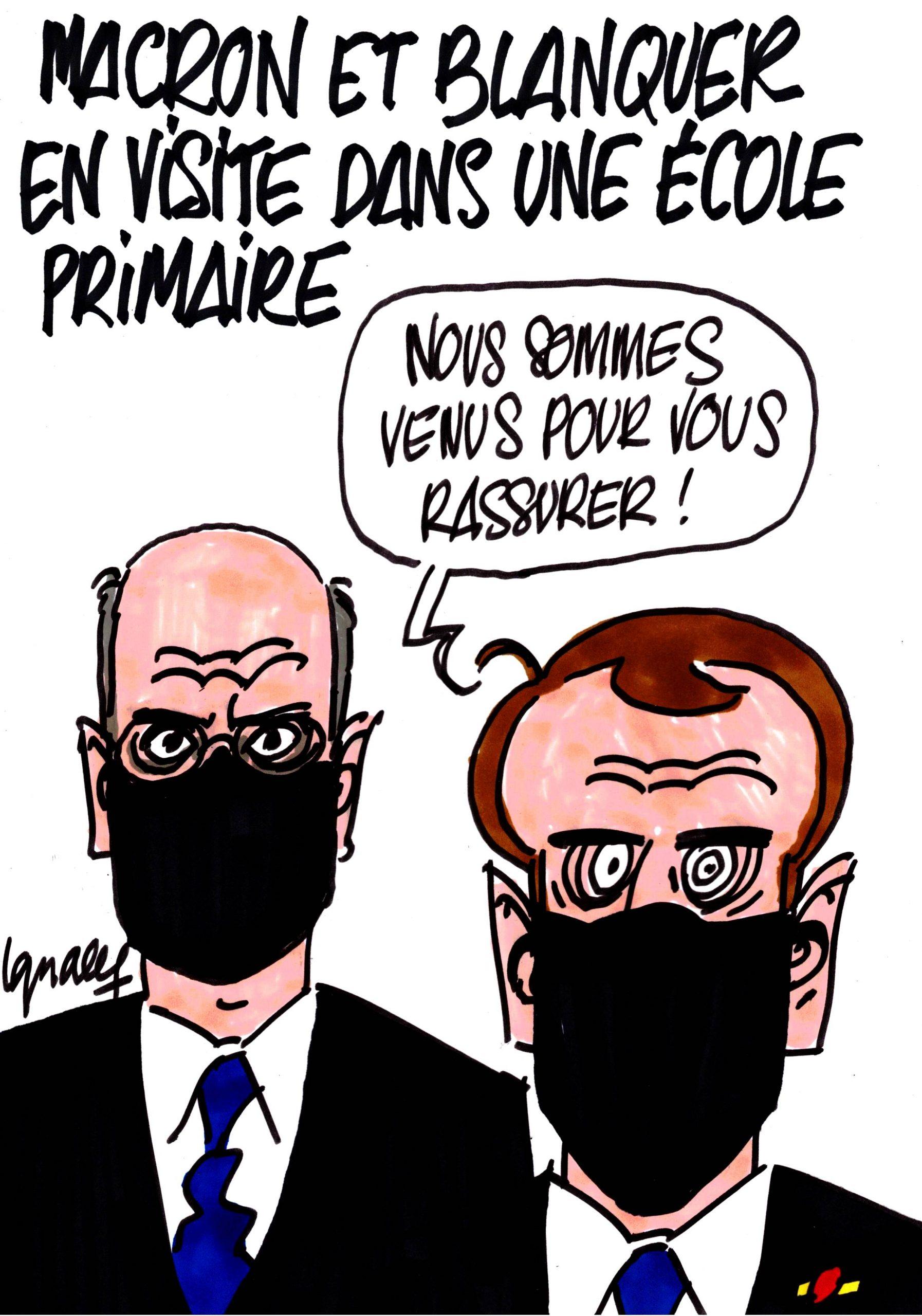 Ignace - Macron et Blanquer en visite dans une école primaire