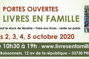 Portes ouvertes Livres en Famille -2, 3, 4, 5 octobre Préchac 33730 – Vente de livres au poids