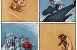 Mosaïque de dessins sur la dictature sanitaire